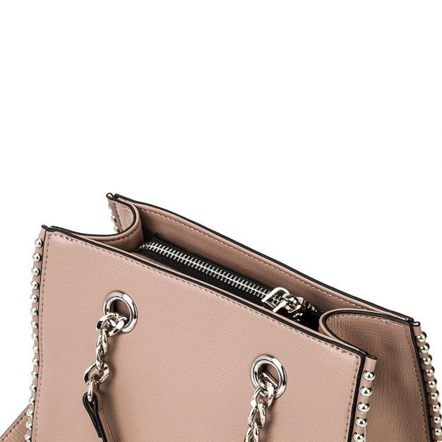 Pink Plain Cowhide Leather Small Women's Tote