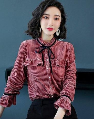 Pink Plain Stand Collar  Long Sleeve  Women's Shirt