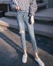 Blue High Waist Ripped Women's Jeans