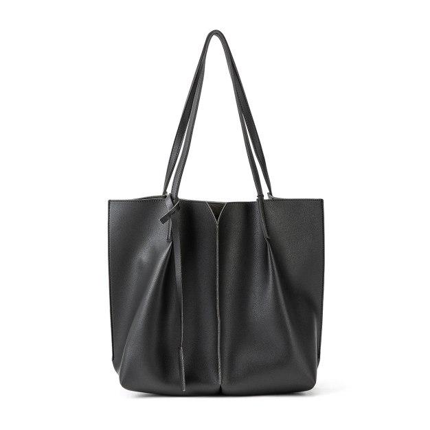 Black Plain Pvc 2 Pieces Bag Small Women's Shoulder Bag