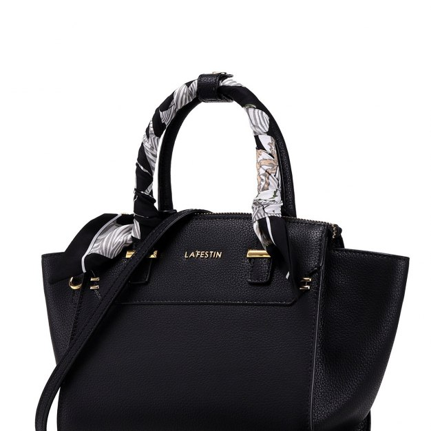 Black Plain Cowhide Leather Medium Women's Tote