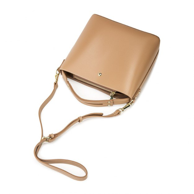 Apricot Plain PU Small Women's Shoulder Bag