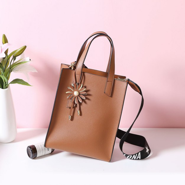 Brown Plain Pvc Bucket Bag Big Women's Tote