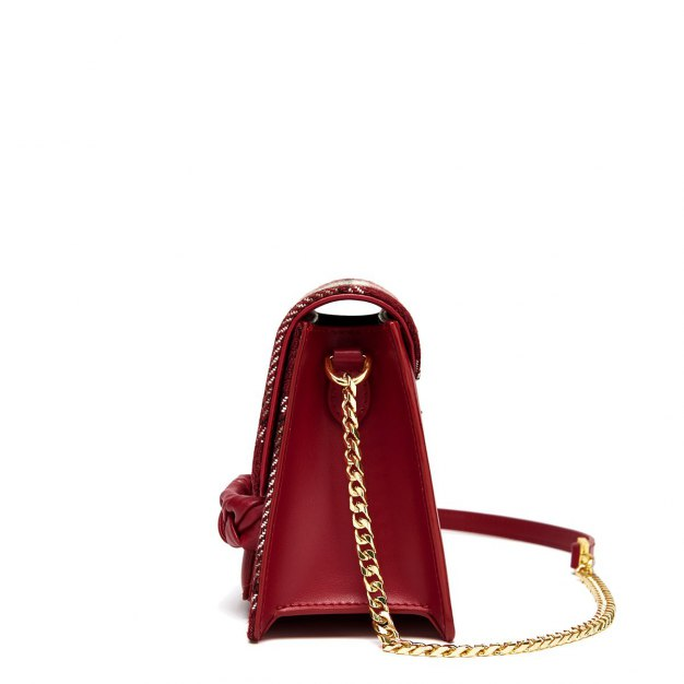 Red Cowhide Leather Small Women's Shoulder Bag