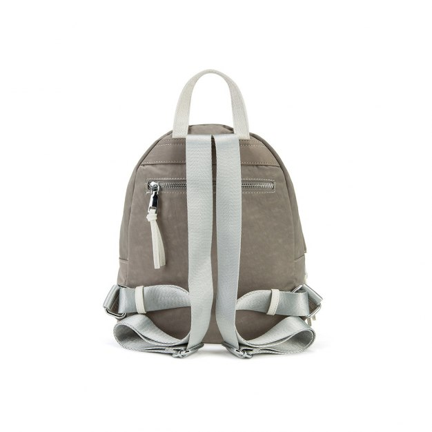 Gray Canvas Small Plain Women's Backpack