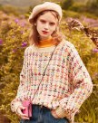 Apricot Embroidery Round Neck Elastic Women's Knitwear