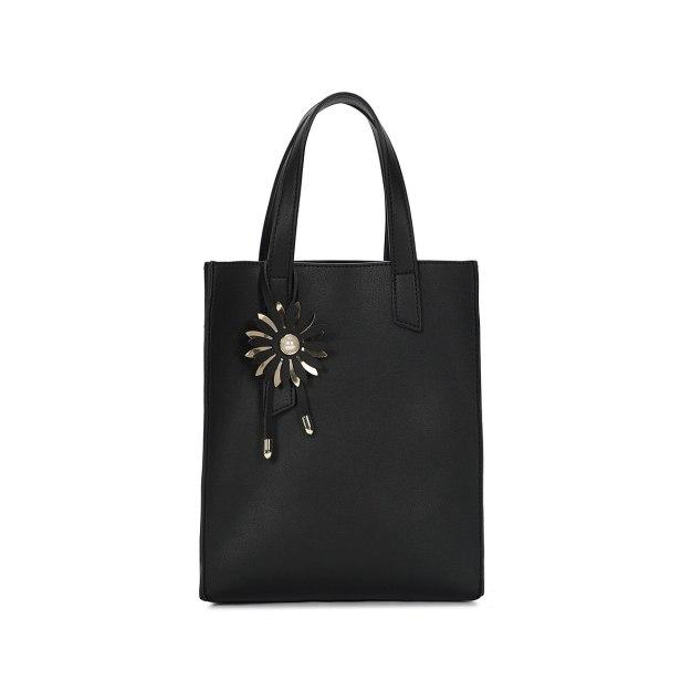 Black Plain Pvc Bucket Bag Big Women's Tote