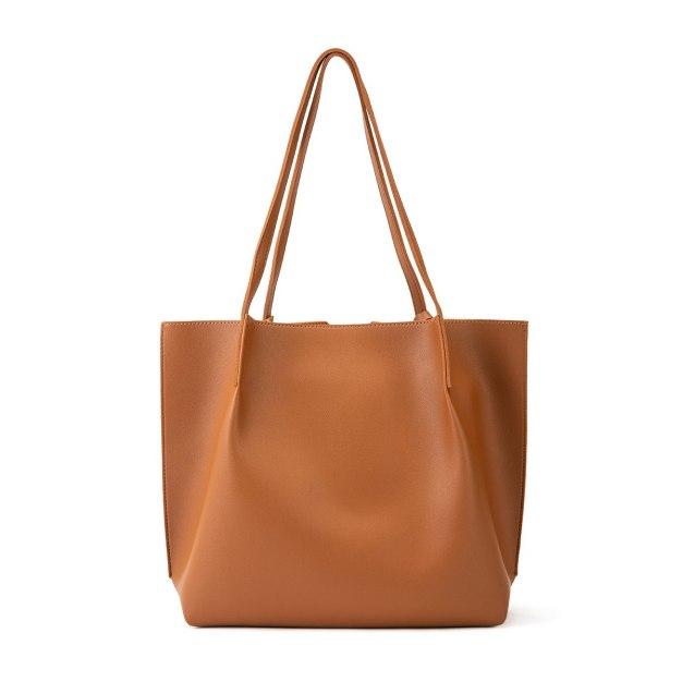 Brown Plain Pvc 2 Pieces Bag Small Women's Shoulder Bag