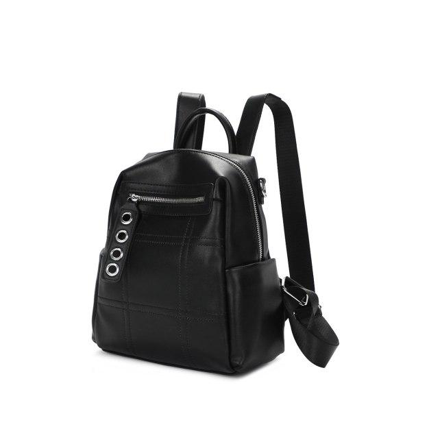 Black PU Big Women's Backpack