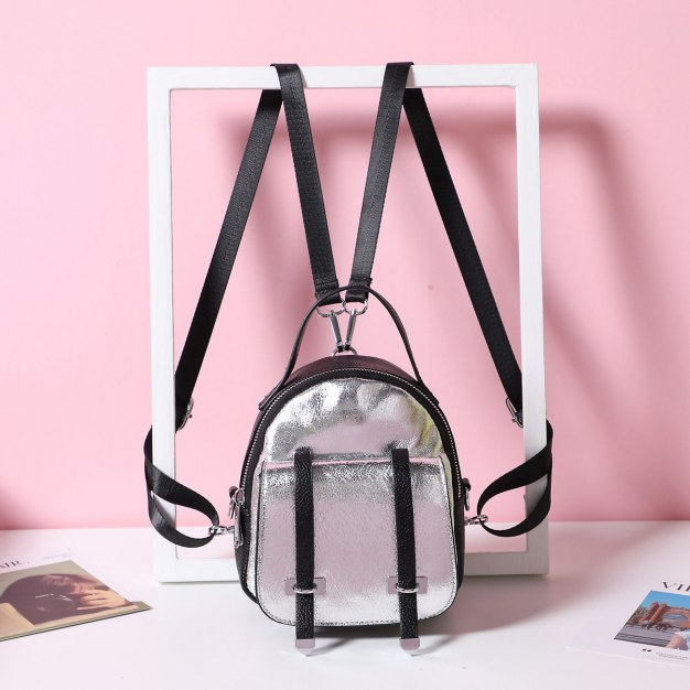 Silver PU Mini Women's Backpack