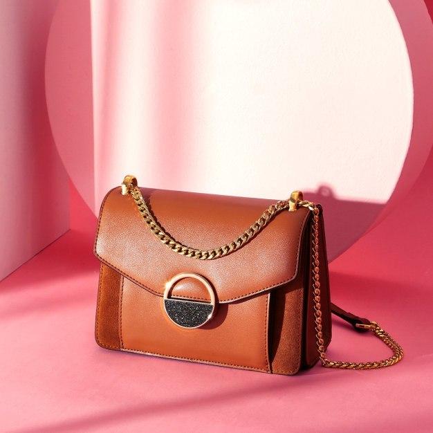 Brown Plain Cowhide Leather Medium Women's Shoulder Bag