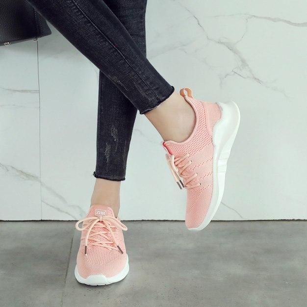 Pink Round Head Flat Women's Sport Shoes