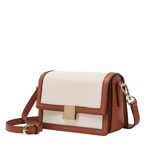 Apricot Plain Cowhide Leather Small Women's Crossbody Bag