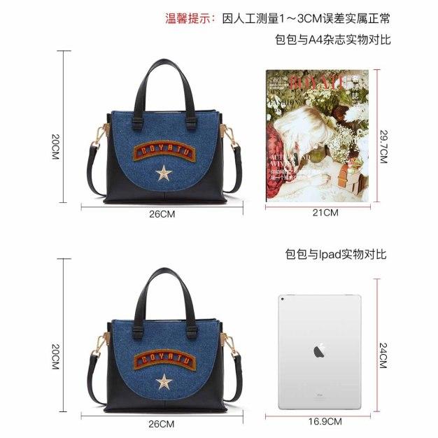 Blue Cowhide Leather Tote Bag Medium Women's Tote