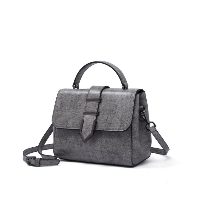 Gray Plain Cowhide Leather Small Women's Tote