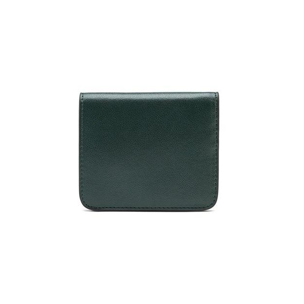 Green Plain Cowhide Leather Purse(Short) Small Women's Wallet