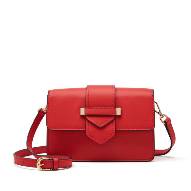 Red Plain Cowhide Leather Small Women's Crossbody Bag
