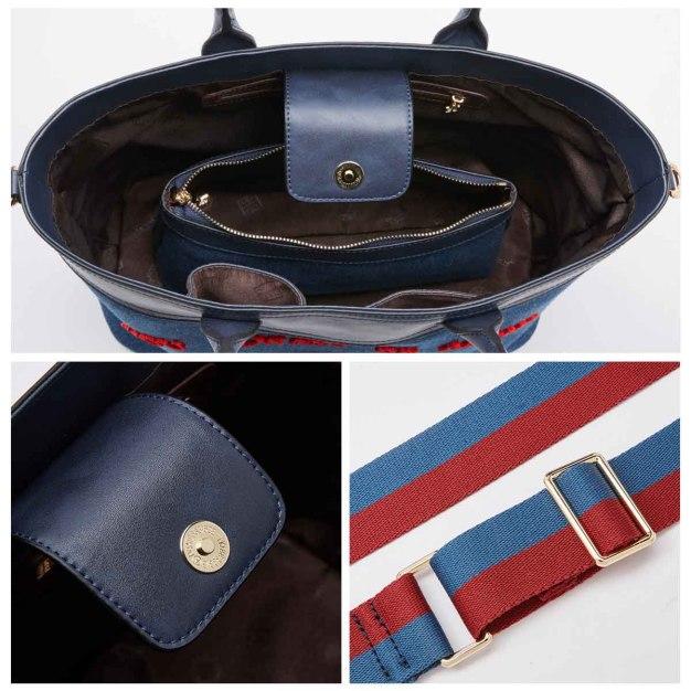 Blue Plain Cowhide Leather 2 Pieces Bag Big Women's Shoulder Bag