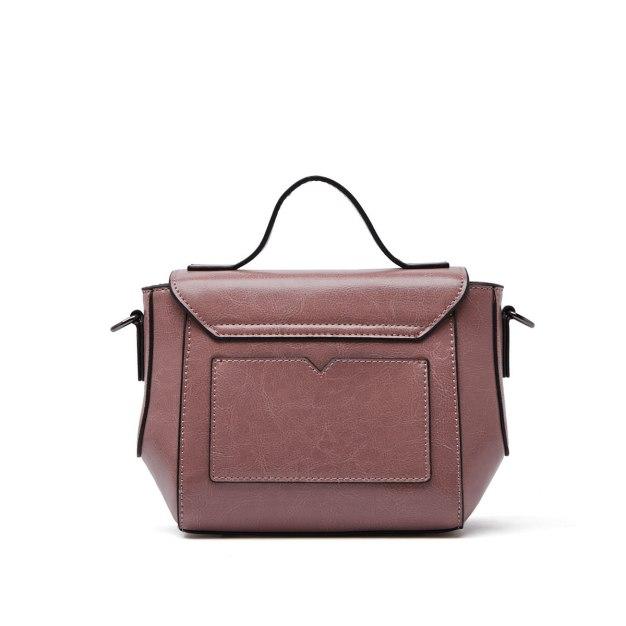 Pink Plain Cowhide Leather Pig Bag Mini Women's Crossbody Bag