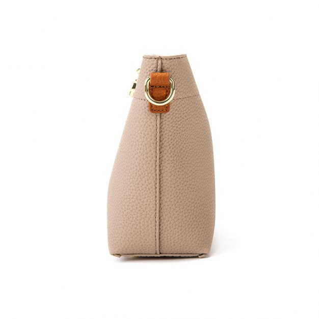 Apricot Plain PU Mini Women's Crossbody Bag