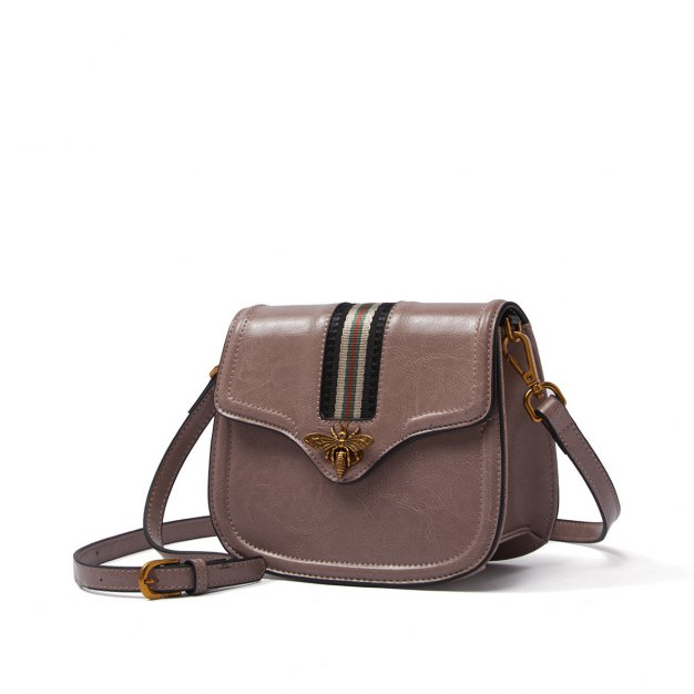Pink Plain Cowhide Leather Small Women's Crossbody Bag