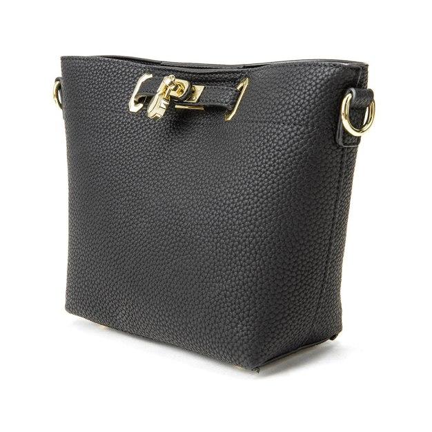 Black Plain PU Mini Women's Crossbody Bag