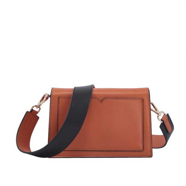 Brown Plain Cowhide Leather Small Women's Crossbody Bag