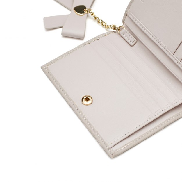 Gray Plain Cowhide Leather Purse(Short) Small Women's Wallet