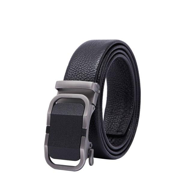 Black Soft Cowhide Leather Men's Belt