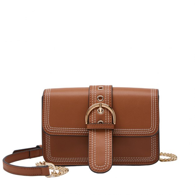 Brown Plain Cowhide Leather Pig Bag Small Women's Crossbody Bag