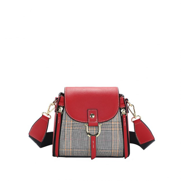 Red Houndstooth Pvc Boston Bag Small Women's Tote