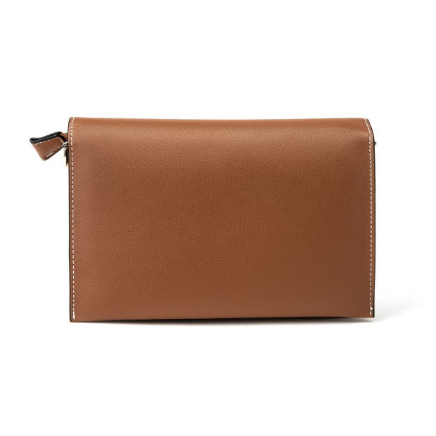 Brown Color Block Pvc Small Women's Crossbody Bag