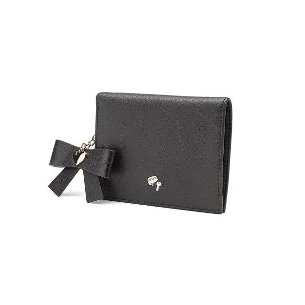 Black Plain Cowhide Leather Purse(Short) Small Women's Wallet