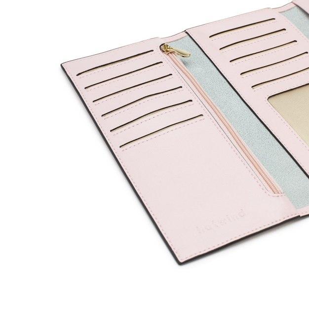 Pink Plain Cowhide Leather Purse(Long) Small Women's Wallet