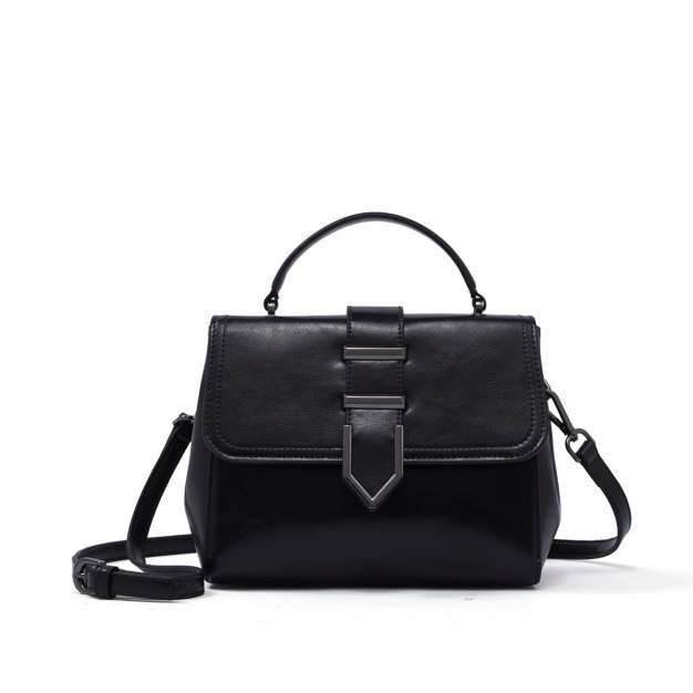 Black Plain Cowhide Leather Small Women's Tote
