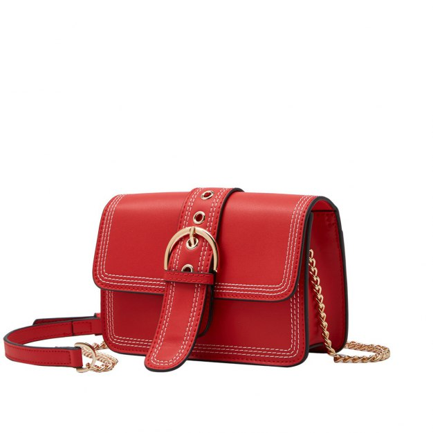 Red Plain Cowhide Leather Pig Bag Small Women's Crossbody Bag