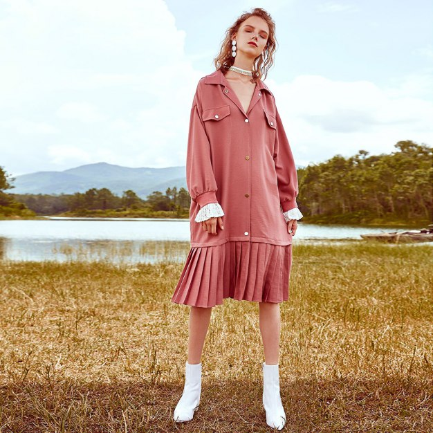 Pink Lapel Long Sleeve 3/4 Length Pleated Loose Women's Dress