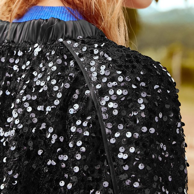 Black Plain Square Neck Long Sleeve Loose Women's Outerwear