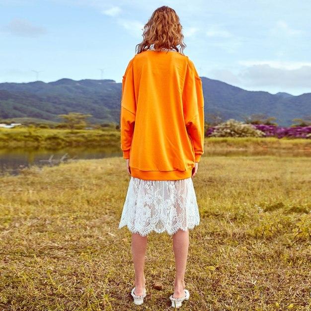 V Neck Elastic Long Sleeve Loose Women's Sweatshirt