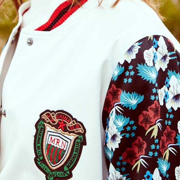 White Print Baseball collar Buckle Women's Outerwear