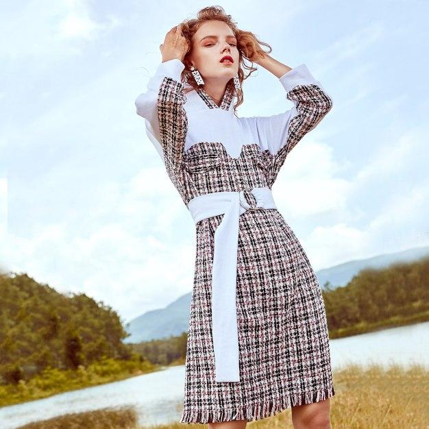 White Contrast Collar High Waist 3/4 Length Women's Dress