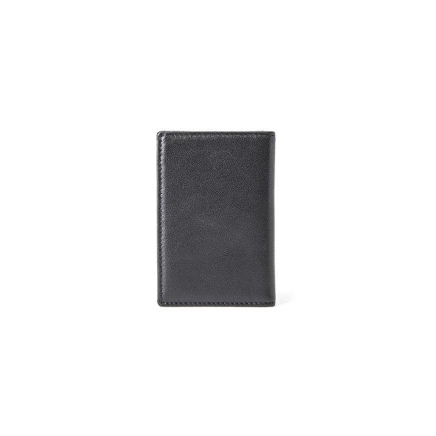 Black Plain Cowhide Leather Small Men's Wallet & Card Case
