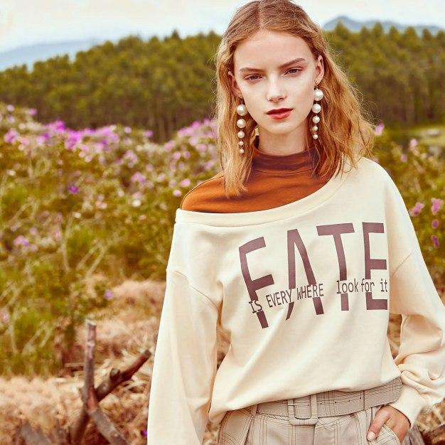 Apricot High Neck Elastic Long Sleeve Women's Sweatshirt