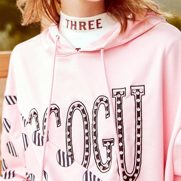Pink Elastic Long Sleeve Loose Women's Sweatshirt