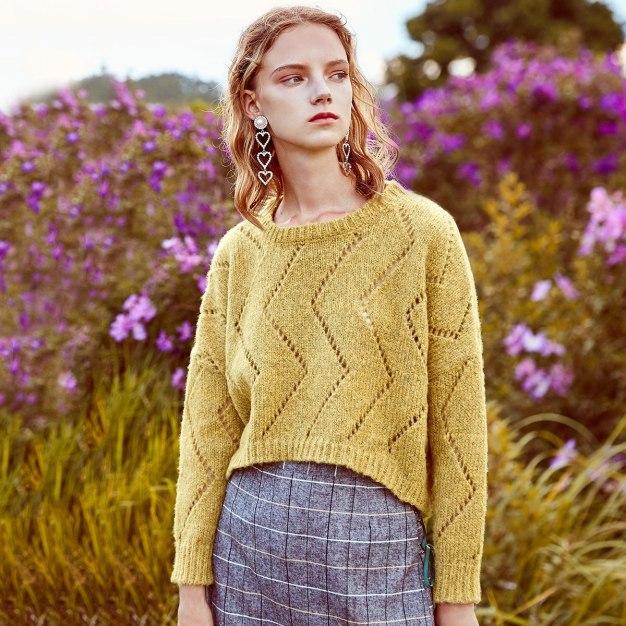 Yellow Round Neck Elastic Long Sleeve Loose Women's Sweater
