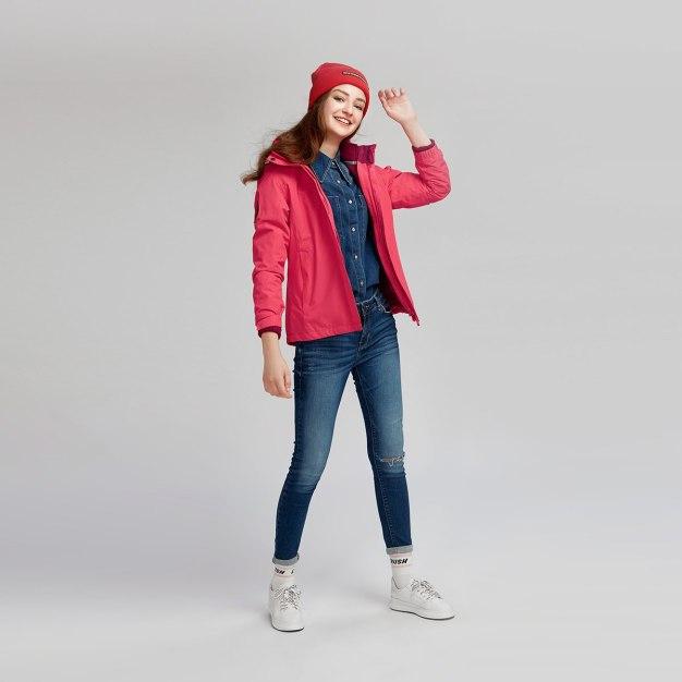 Red Lapel Warm Women's Outerwear