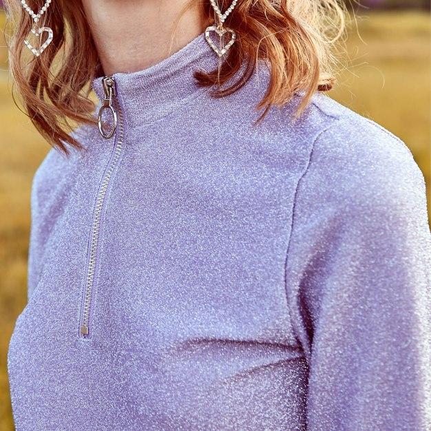 Purple Plain High Neck Long Sleeve Fitted Women's Innerwear Top