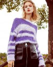 Purple Round Neck Elastic Long Sleeve Loose Women's Sweater