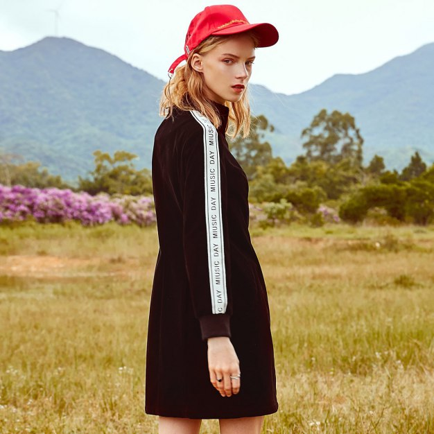 Black Half high zipper collar Long Sleeve Women's Outerwear