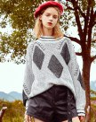 White Knitted Collar Elastic Long Sleeve Loose Women's Sweater